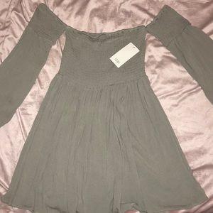 Olive Green Off the Shoulder Tobi Dress